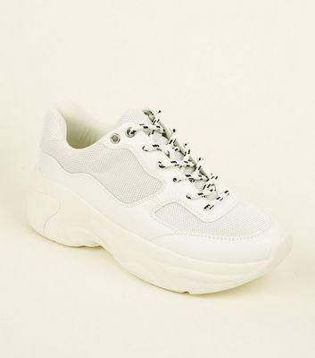 White Limited Edition Mesh Panel Chunky Trainers by New Look