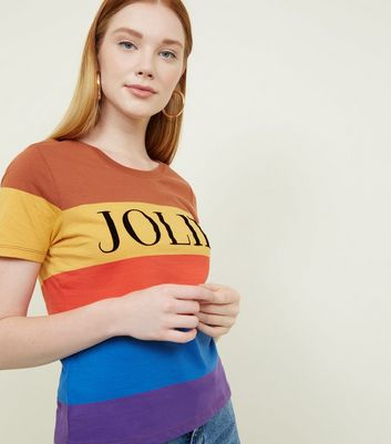 Rainbow Stripe Jolie Slogan T-Shirt