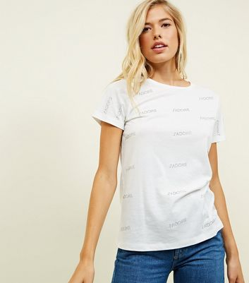 White Studded J'Adore Slogan T-Shirt