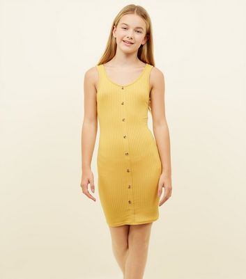 Girls Mustard Button Front Ribbed Bodycon Dress