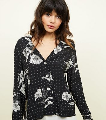 Black Floral Button Front Shirt