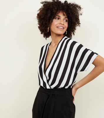 Black and White Stripe Wrap Front Bodysuit