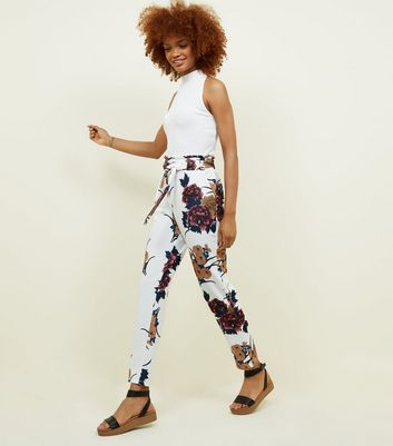 Cameo Rose White Floral Paperbag Waist  Trousers