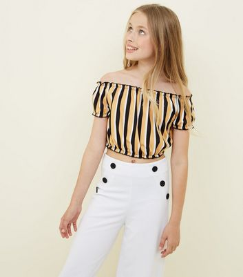 Teens Yellow Stripe Scuba Bardot Neck Top by New Look