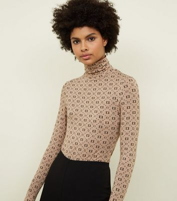 Camel Love Print Roll Neck Top