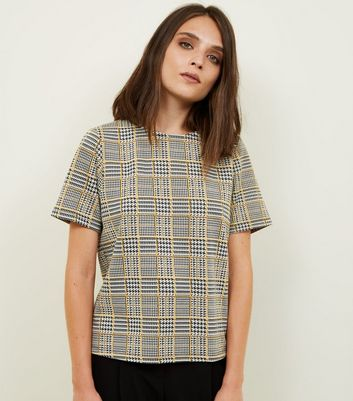 Mustard Prince of Wales Check Boxy T-Shirt