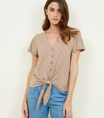 Camel Spot Print Button Tie Front Top