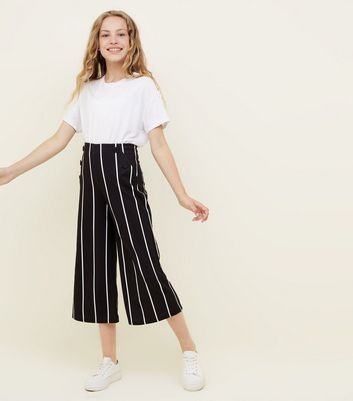 Teens Black Stripe Button Front Culottes