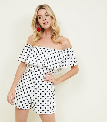 White Polka Dot Frill Bardot Neck Party Playsuit