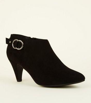 Comfort Flex Black Suedette Cone Heel Shoe Boots by New Look