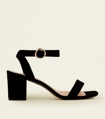Black Suedette Square Toe Mid Heel Sandals