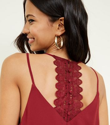 Burgundy Button Lace Back Cami