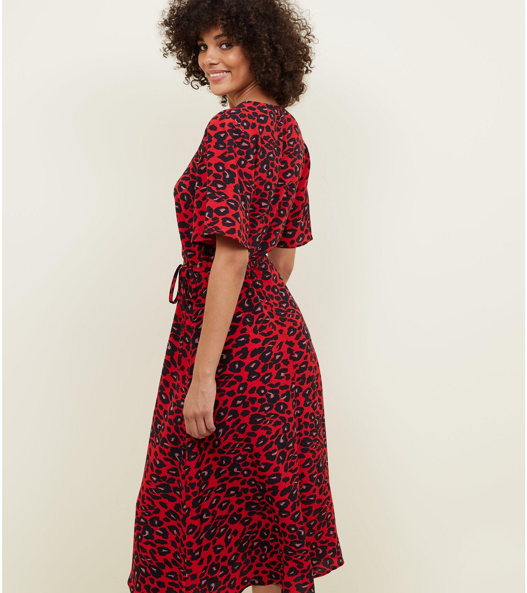 New Look Red Animal Print Midi Wrap Dress at £24.99  b1e179fa2
