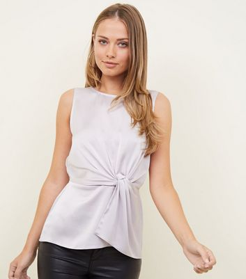 Pale Grey Satin Twist Front Sleeveless Top