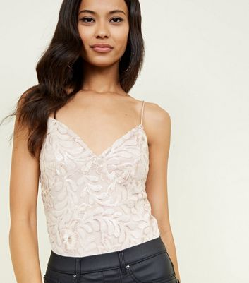 Pale Pink Floral Sequin Embroidered Party Bodysuit