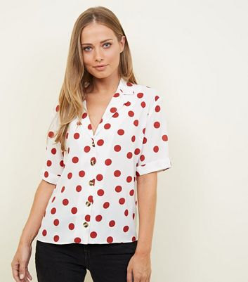 Brown Polka Dot Short Sleeve Boxy Shirt
