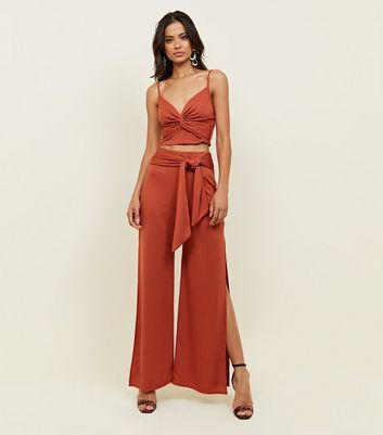 Rust Ribbed Twist Front Party Cami