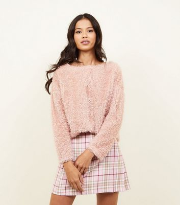 Pale Pink Fluffy Fine Knit Slouchy Jumper