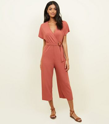 Orange Ribbed Belted Jumpsuit
