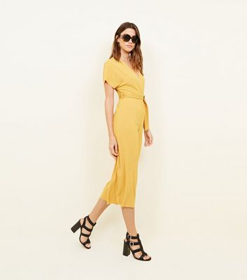 Mustard Ribbed Belted Jumpsuit
