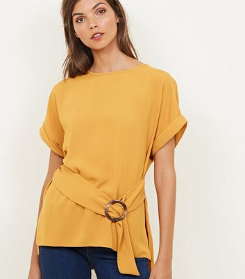 Yellow Faux Horn Buckle Tie Front Top
