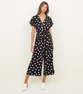 Black Spot Print Button Front Jumpsuit