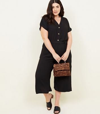Curves Black Button Front Belted Jumpsuit