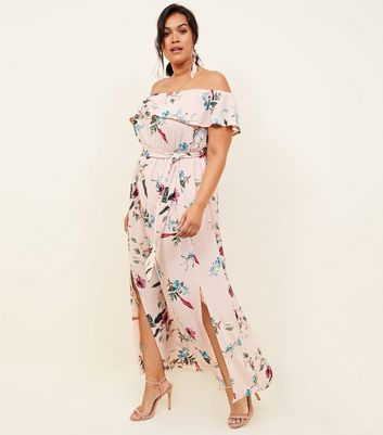 Curves Pink Floral Frill Bardot Dress