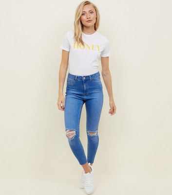 Petite Bright Blue Ripped High Waist Supper Skinny Jeans