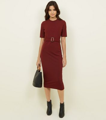 Burgundy Ribbed Belted T Shirt Midi Dress by New Look