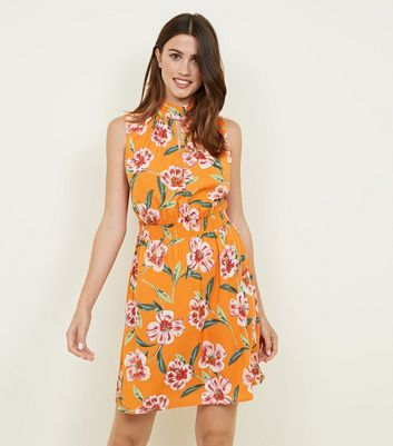 Coral Floral High Neck Shirred Waist Dress