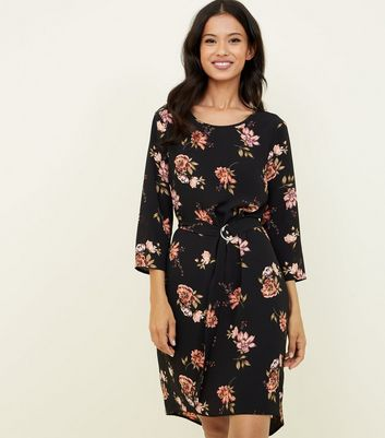 Black Floral Belted Dip Hem Tunic Dress
