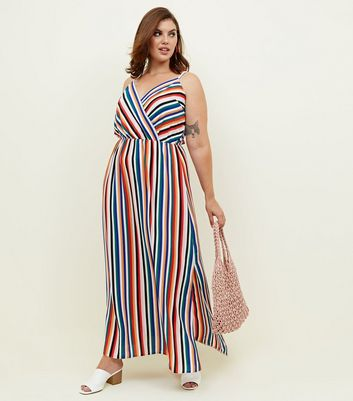Curves Rainbow Stripe Wrap Maxi Dress