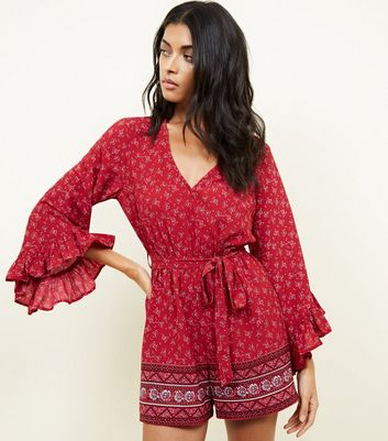 Red Floral Border Print Frill Sleeve Playsuit