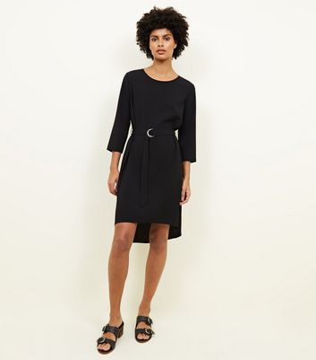 Black Crepe Belted Dip Hem Tunic Dress