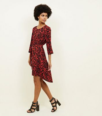 Red Leopard Print Belted Dip Hem Tunic Dress