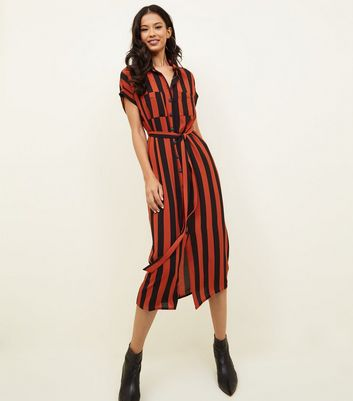 Orange Vertical Stripe Midi Shirt Dress