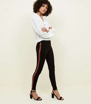 Black and Rust Side Stripe Leggings