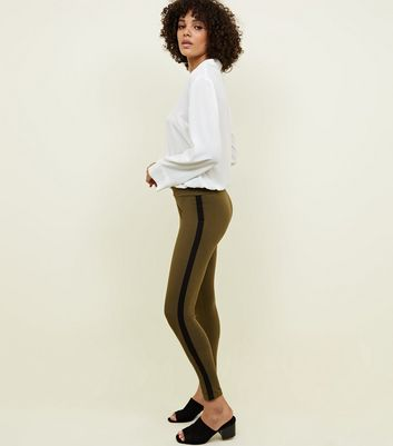 Khaki Side Stripe Leggings