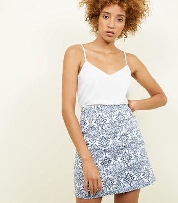 Apricot Navy Tile Print Mini Skirt