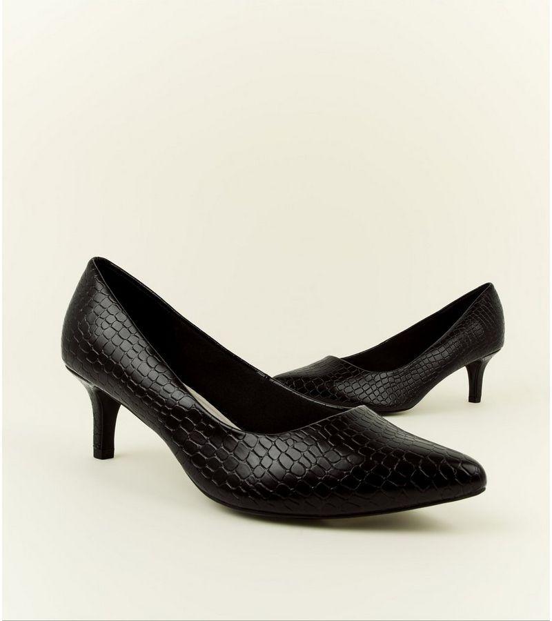 8e67db5fd4 New Look Wide Fit Black Comfort Flex Faux Croc Courts at £22.99 ...