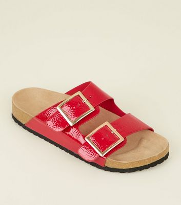 Red Patent Double Buckle Footbed Sandals