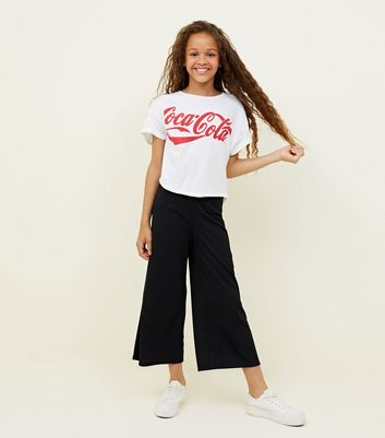 Teens Black Ribbed Jersey Culottes
