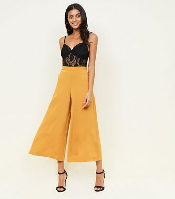 Mustard Cropped Wide Leg Trousers
