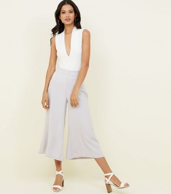 Pale Grey Crepe Cropped Flared Trousers