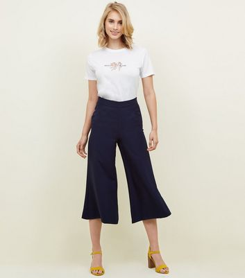 Navy Crepe Cropped Flared Trousers