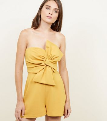 Yellow Bow Front Strapless Party Playsuit
