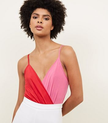Red Colour Block Wrap Front Bodysuit