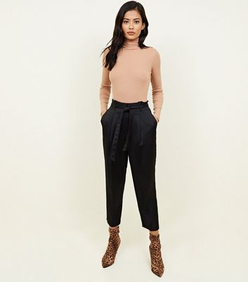 Black Satin Paperbag Waist Tapered Trousers