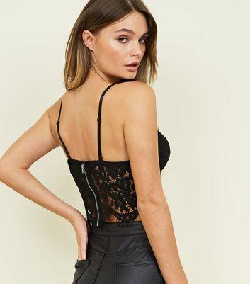 New Look - Black Lace Trim Bustier Bralette - 3